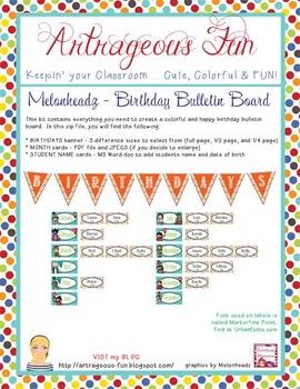 the BRAINY BUNCH - Birthday Bulletin Board kit