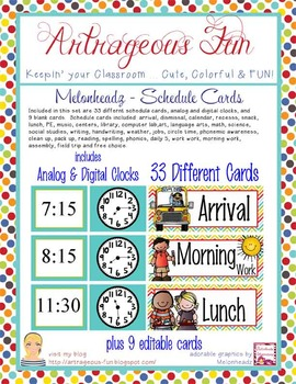 the BRAINY BUNCH - Schedule Cards / editable