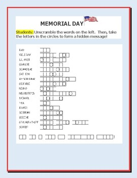 Memorial Day A Vocabulary Word Jumble Activity Tpt