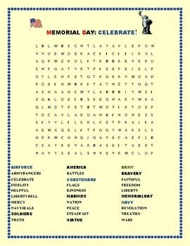 MEMORIAL DAY: CELEBRATE OUR SOLDIERS: WORD SEARCH