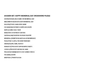 MEMORIAL DAY CROSSWORD PUZZLE-CELEBRATE OUR SERVICEMEN/WOMEN