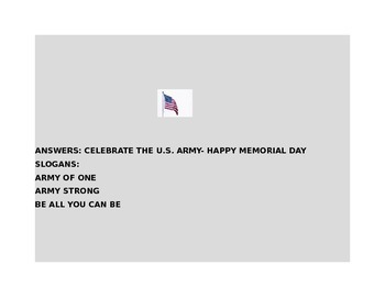 MEMORIAL DAY CRYPTOGRAM- CELEBRATE U.S. ARMY