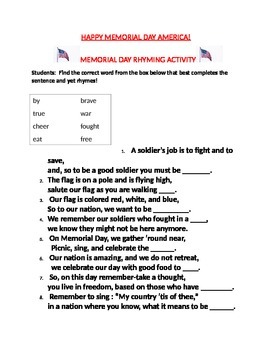 MEMORIAL DAY RHYMING ACTIVITY