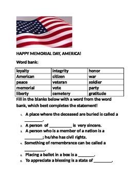 MEMORIAL DAY WORD BANK FUN!