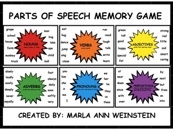 Parts of Speech Memory Games
