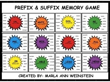 Prefix & Suffix Memory Game