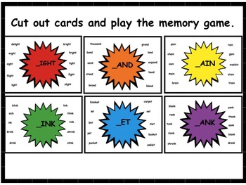 Word Family Memory Game