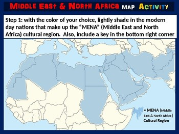 MENA (Middle East & North Africa) Map Activity (follow-along PPT ...