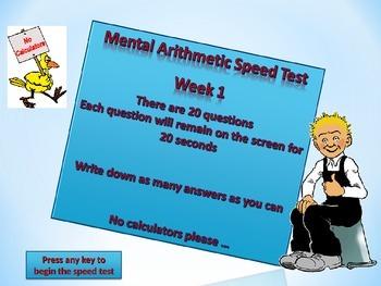 MENTAL ARITHMETIC TEST WEEK 1