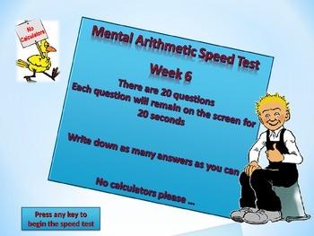 MENTAL ARITHMETIC TEST WEEK 6