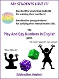 ESL/MENTAL MATH GAME: Play And Say Numbers In English (Subtraction)