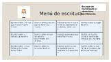 MENU DE ESCRITURA