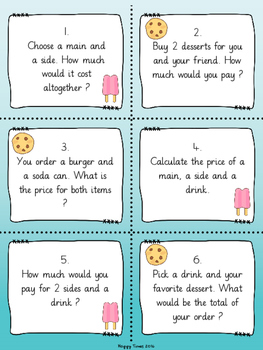 MENU MATH with 24 Task Cards  (differentiated word problems)
