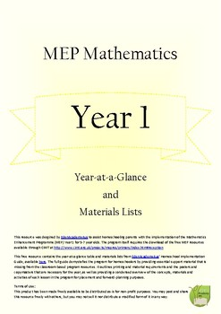MEP Year 1 Year-at-a-glance and Materials List