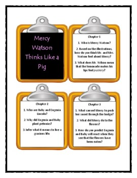 Kate DiCamillo MERCY WATSON THINKS LIKE A PIG - Discussion Cards