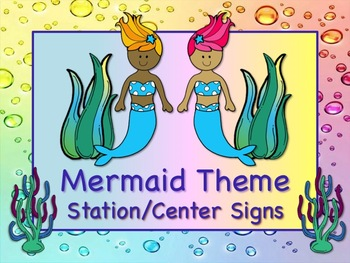 MERMAID Themed Station/Center Signs FIN-TASTIC! Great Clas
