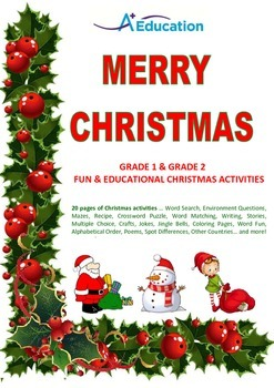 MERRY CHRISTMAS Grade 1 & Grade 2 Fun & Educational Christ