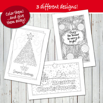 MERRY CHRISTMAS & HOLIDAY GREETING Coloring Cards! - PDF - Digital file -Instant