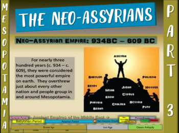 MESOPOTAMIA PART 3: NEO-ASSYRIAN EMPIRE, fun 20-slide PowerPoint w/ Guided Notes