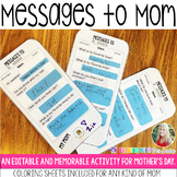 MESSAGES TO MOM - Editable Mother's Day Activity
