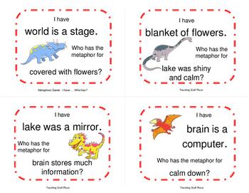 METAPHORS GAME   I have...Who has?   Dinosaur Cards   Figurative Language FUN