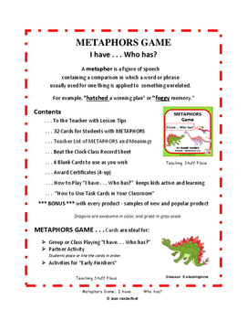 METAPHORS GAME | I have...Who has? | Dinosaur Cards | Figurative Language FUN