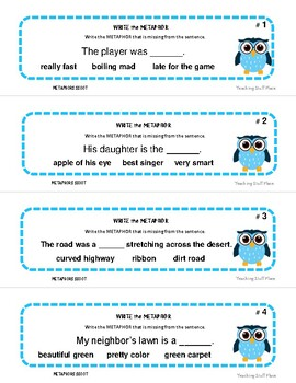 METAPHORS  Figurative Language  TASK CARDS  SCOOT GAME  Gr  4 - 5 Review
