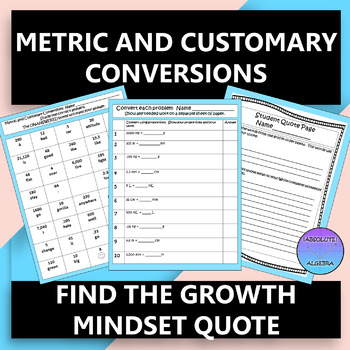 Metric and Customary Conversions Growth Mindset Quote Activity