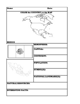 MEXICO COUNTRY RESEARCH WORKSHEET
