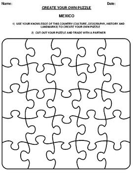 MEXICO Create your Own Puzzle Worksheet