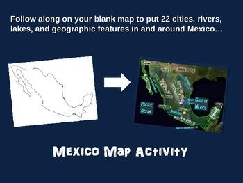 MEXICO Map Activity- fun, engaging, follow-along 18-slide PPT
