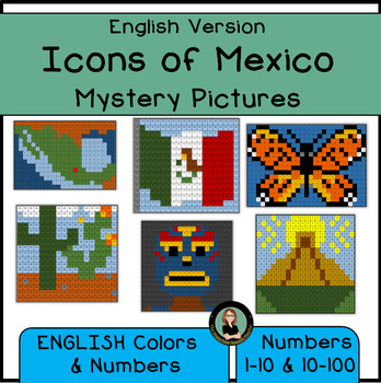 MEXICO Mystery Pictures, Icons of Mexico, Color By Number