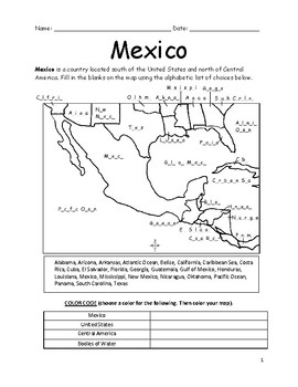 photograph about Mexico Printable identified as MEXICO - Printable handout with map