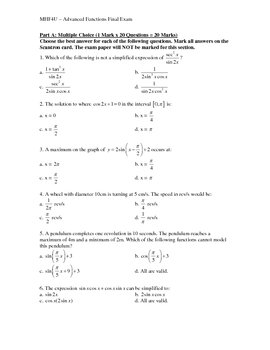 MHF4U - Advanced Functions (Precalculus) Exam Review