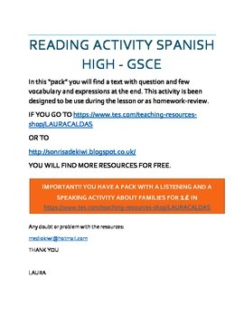 MI FAMILIA GCSE LECTURA CON PREGUNTAS/ SPANISH GCSE READING WITH QUESTIONS