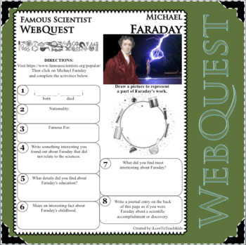 MICHAEL FARADAY Science WebQuest Scientist Research Project Biography Notes