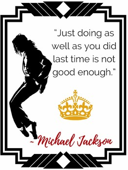 MICHAEL JACKSON King Pop Music  Growth Mindset Motivational POSTERS for Teachers