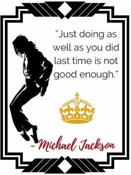 MICHAEL JACKSON King Pop Music  Growth Mindset Motivational POSTERS for Teachers