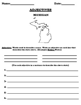 MICHIGAN Adjectives Worksheet with Word Search