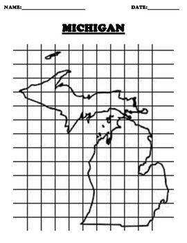 MICHIGAN Coordinate Grid Map Blank