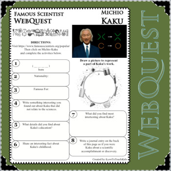 MICHIO KAKU - WebQuest in Science - Famous Scientist - Differentiated