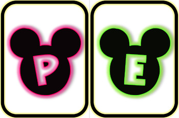 MICKEY HEAD LETTERS NEON PINK, GREEN, BLUE TO SPELL OUT INSPIRATIONAL WORDS