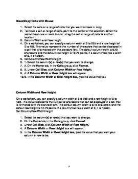MICROSOFT EXCEL 2010 QUICK STEPS