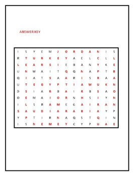 MIDDLE EAST WORD SEARCH PUZZLE