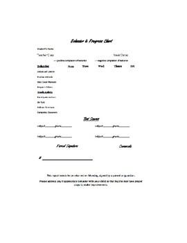 MIDDLE SCHOOL BEHAVIOR AND PROGRESS CHART