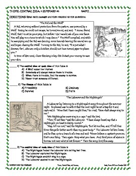 MIDDLE SCHOOL CCSS RL 6.2, 7.2, 8.2 THEME, CENTRAL IDEA, SUMMARY - LITERATURE