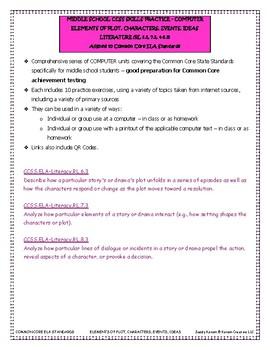 MIDDLE SCHOOL CCSS RL 6.3 7.3 8.3 ELEMENTS OF PLOT - COMPUTER UNIT