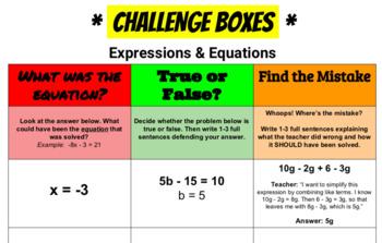 7th Grade Math - *CHALLENGE BOXES!*