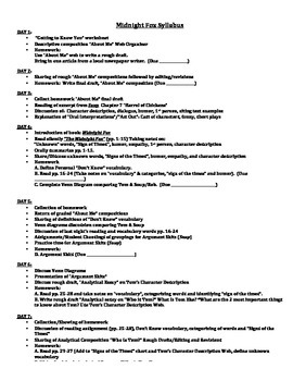 MIDNIGHT FOX LANGUAGE ARTS LITERATURE UNIT (GRADES 5 - 6)