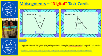 """MIDSEGMENTS OF TRIANGLES: """"DIGITAL"""" BOOM CARDS (36 TASK CARDS)"""